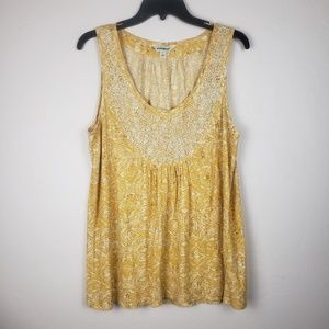Lucky Brand Beaded Yellow & White tank size large